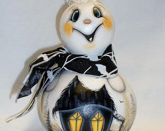 Ghost Gourd with Haunted Witch House - Hand Painted Gourds