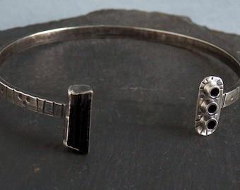 Tourmaline bracelet / raw tourmaline / black tourmaline / October birthstone / tourmaline jewelry / tourmaline crystal / cuff bracelet