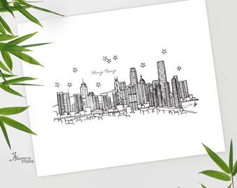 Hong Kong, China - Asia/Pacific - Instant Download Printable Art - City Skyline Series