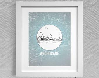 Anchorage, Alaska - United States - Instant Download Printable Art - Vintage City Skyline Map Series