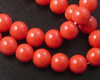 Glass Bead 41 Round 10mm Glossy Environmental Dark Orange Dyed Baked Opaque Paint Strand (1038gla10m1-13)