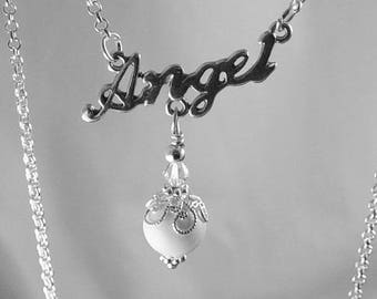 Necklace ANGEL 3-Ring Charm Antique Silver Chain Filigree Bead Cap Swarovski Crystal Glass Victorian 12 inch (1011nec12s1)