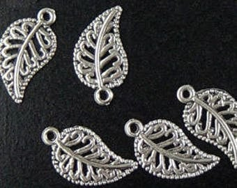 CLEARANCE Jewelry Leaf Charms 5 Silver 19mm long (1012chm78s1-O)os