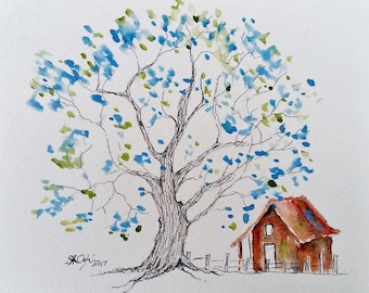 NEW, Woodland Tree, 4.5 x 6.5, Original watercolor and ink