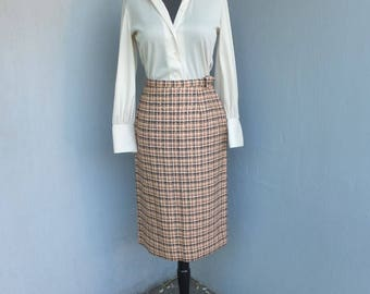 Vintage 1960s Pencil Skirt, Majestic, Wool Plaid Pencil Skirt, Cigarette Skirt, Hour Glass, Bombshell, Wiggle Skirt