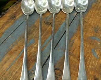 William Rogers Set 5 ICED TEA SPOONS Old Cross Hallmark Simple Design