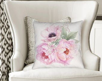 Peony Pillow, Pretty Pink Peony Pillow, Pink Flower Pillow, Berries Blooms Collection