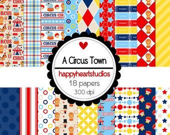 Digital Scrapbooking  ACircusTown Instant Download Circus, Animals, Blue Red, Yellow