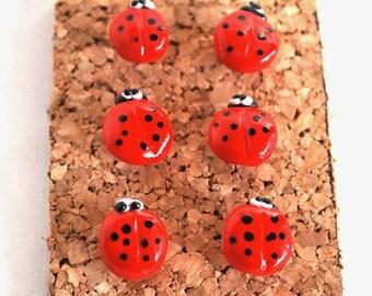 Decorative Pushpins, Home Decor, Office Decor, Thumbtacks, Thumb tacks, Push pins, Pushpins, Ladybug Pushpins, Ladybug Thumbtacks