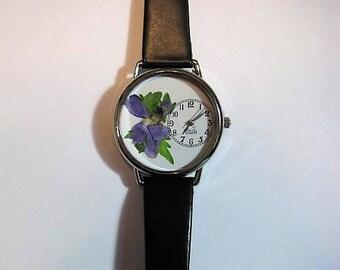 Women's Watch, Wrist Watch for Women, Wild Violet Watch,Pressed Flower Watch, Women's Wrist Watch, Bridesmaid Gift, Retirement Gift