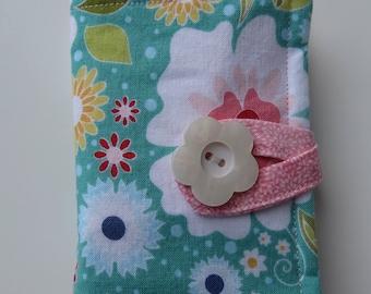 Tea Wallet , Tea Bag Holder, Cute Accessory, Purse Accessory, Aqua and Green Floral