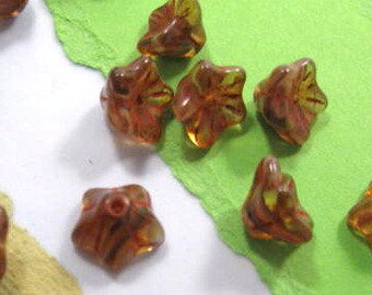 Czech 5 Piont Bellflower 6x9mm Glass Beads / Golden Bronze / Transparent / Opaque with Picasso - 25 ct