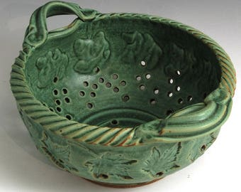 Green Maple Leaf, Glaze Colander, Hand-Thrown, Stoneware, SHIPPING INCLUDED