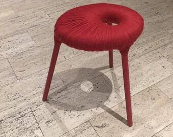 Vintage Ikea Red Yarn Wrapped Eskilstuna Stool