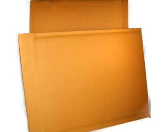 Bubble Mailer 25 pack - gold, size 4 or approx 9.5x14.5 - large, padded envelopes, shipping, mailing, shop supplies, self sealing, kraft