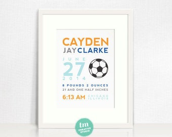 8x10 Custom Birth Print // Sports Themed Wall Art - Baseball, Basketball, Football, or Soccer // Boy Nursery Decor