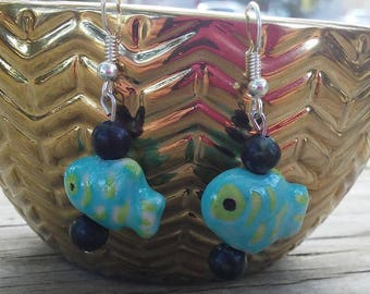 Handmade Ceramic Fish Beaded Earrings