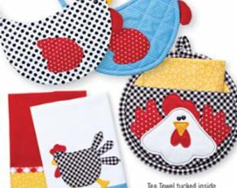PATTERN CHARMING CHICKENS Potholders and Tea Towels