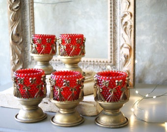 Vintage Red and Gold Candleholders for Valentines 1960s Retro Kitsch Votive Size