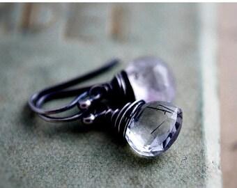 Summer Sale Gemstone Earrings, Tourmalinated Quartz, Black Tourmalinated, Drop Earrings, Dangle Earrings, Quartz Earrings, Sterling Silver,