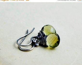 Summer Sale Quartz Earrings, Olive Quartz Jewelry, Drop Earrings, Wire Wrapped, Sterling Silver, November Birthstone, Birthstone Earrings ,