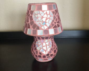 Pink stain glass mosaic iridescent candle light holder lamp garden