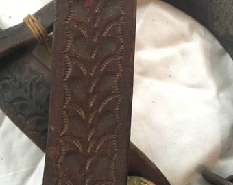 Antique Tooled Leather Headstall. Brown. Repurposing. Bridle