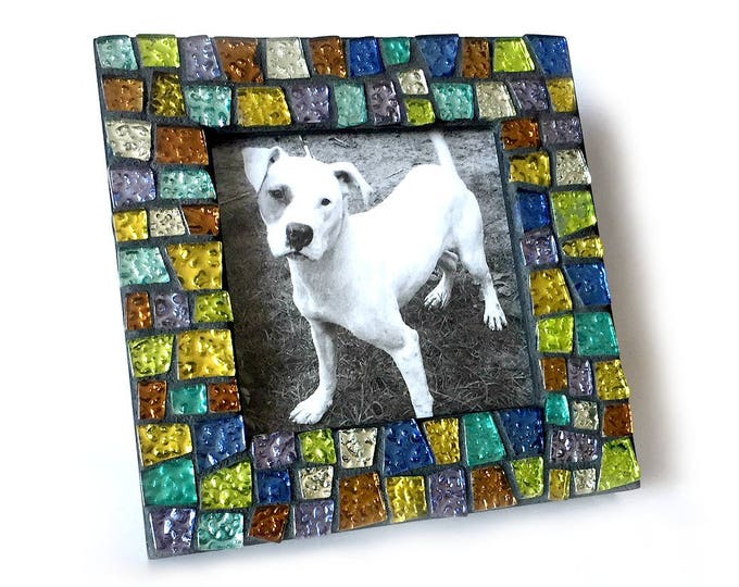 Gem Stone Colored Mosaic Glass Tile Frame, Iridescent Glass Mosaic Frame, 5x5 Black Frame with Glitter Tiles, Handmade Mosaic Tile Frame