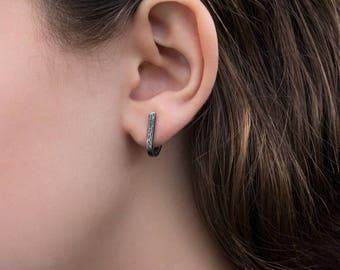 Stud Earrings- Hammered J Wrap Studs- Antiqued