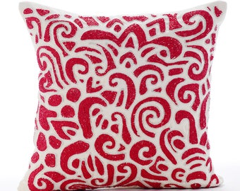 """Designer Red & White Decorative Cushion Covers, 20""""x20"""" Linen Pillowcase, Square Bead Embroidery Pillow Cover - Articulate Abstract"""
