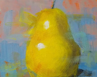 "Small Original Acrylic Painting, Pear, 6 x 6"", Unframed, Wall Art, Kitchen Art"