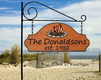 Carved Camping Sign Campfire RV Sign w sign holder - Custom Carved Cedar Sign JGWoodSign Etsy Personalized RV Sign Donaldson