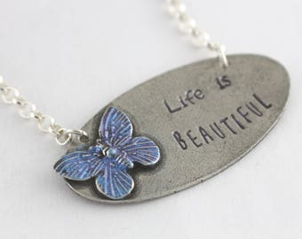 Butterfly Necklace - Silver Necklace - Summer Necklace - Personalized Necklace - Custom Necklace - Beach Necklace - Butter Fly Necklace