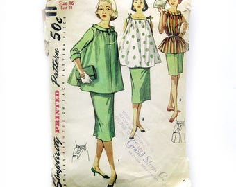 1950s Women's Maternity Clothes Pattern / Simplicity 1488 / Bermuda Shorts / Tent Top / Maternity Skirt / Vintage Sewing Pattern / Size 16