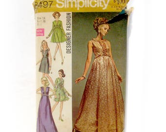 1960s Vintage Sewing Pattern - Simplicity 8497 - Full Length Empire Waist EVENING Gown / Size 14