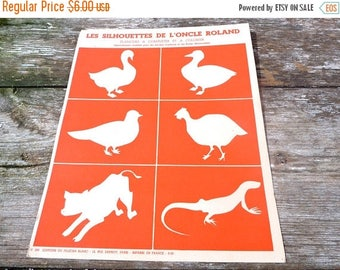ON SALE Vintage 1950/50s French educative  school decorative farm animals plate Les silhouettes de l'Oncle Roland