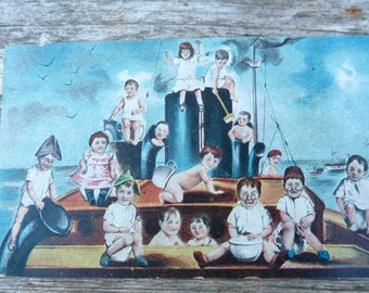 Vintage 1900s  French postcard  babys on a boat