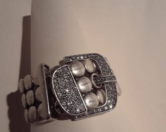 Vintage Silver rhinestone buckle  Cuff bracelet - marked with emblem