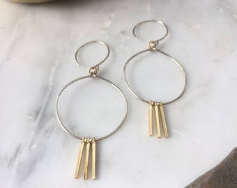Tiny Gold Bars and Silver Hoops Earrings