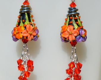 Gorgeous pair of Black and Orange Lampwork Beaded Earrings