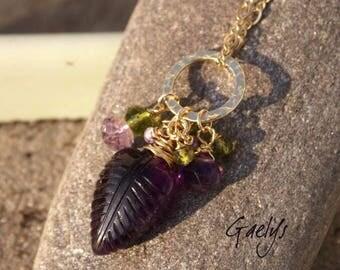 Lavanda - collier améthyste - encarved leaf - pierre gravée - gemme -  14k Gold filled - Gaelys