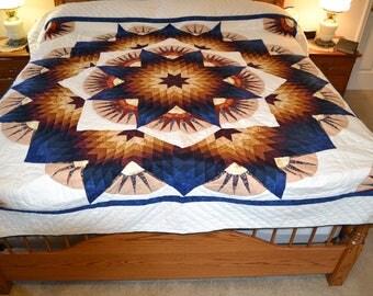 Amish Broken Twinkling Star King/queen quilt