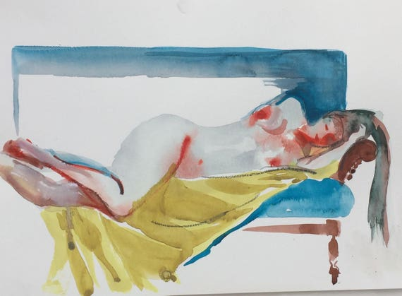 Nude painting- Original watercolor painting of Nude #1436by Gretchen Kelly