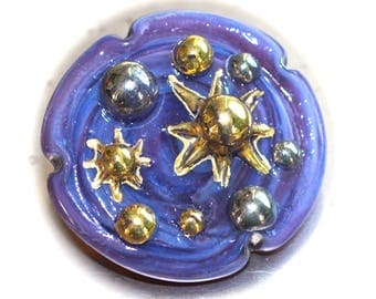 """Button ~ Glass, Purple Intermixed, """"Bimini Type"""", Pictorial, Lampworked, Pressed with Gold & Silver Paint by KPHoppe ~ Large"""