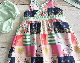 Sweet Summer Dress, Little Girls Dress, Pink Navy Note Cards, Mint Gold Triangle Ruffles