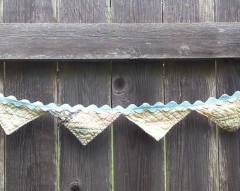 Upcycled Vintage Quilt Banner Bunting Garland