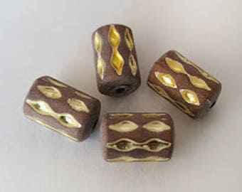 12pcs - 10x7mm Vintage German Matte Light Brown Taupe with Gold tube textured acrylic beads