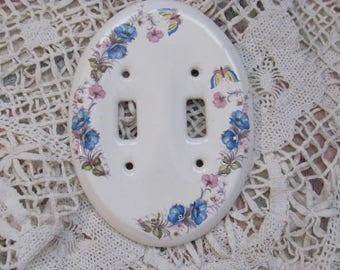 Vintage Ceramic/Porcelain Floral Double light switch Plate Cover, Butterflies