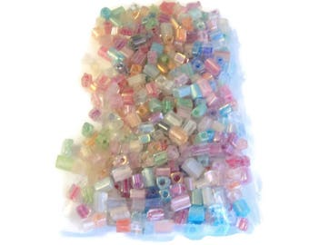 Glass Bead Assortment, Rectangle Pastel Colors, 3mm, 30 Grams, DIY Jewelry Supplies, Takuniquedesigns