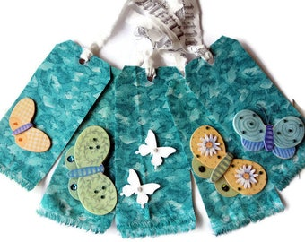 5 Large Gift Tags,  Teal Green Fabric Cover with Butterflies Flowers, Faux Jewels, Manilla Backing, Merchandise Tags, Takuniquedesigns